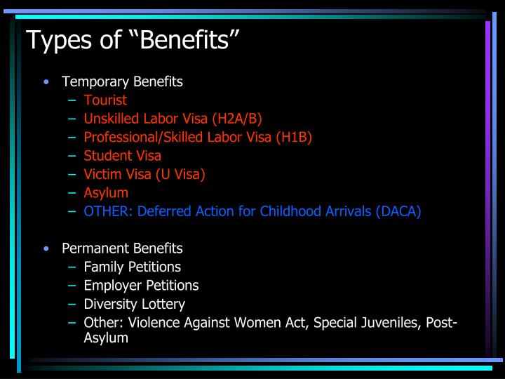 "Types of ""Benefits"""