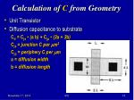 calculation of c from geometry