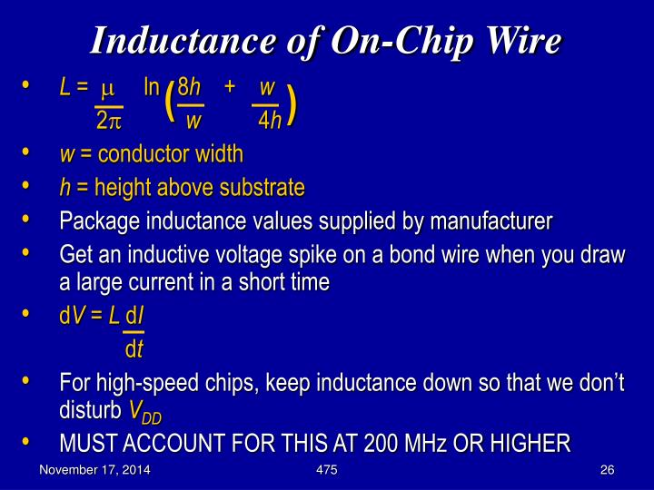 Inductance of On-Chip Wire