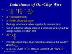 inductance of on chip wire