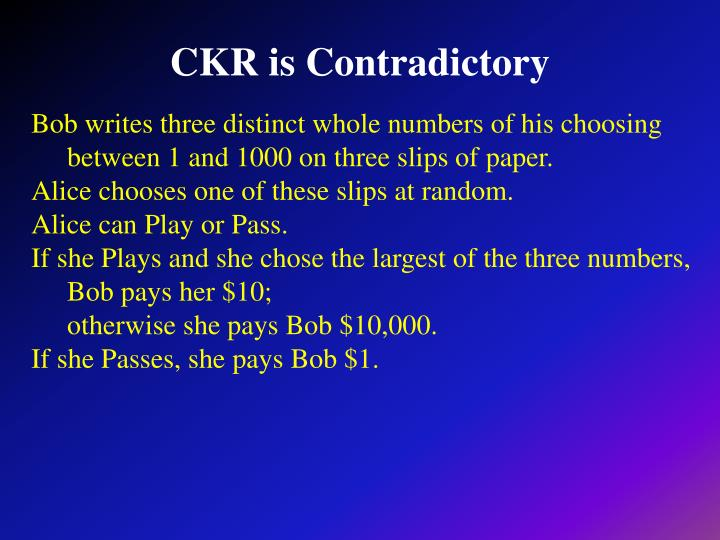 CKR is Contradictory