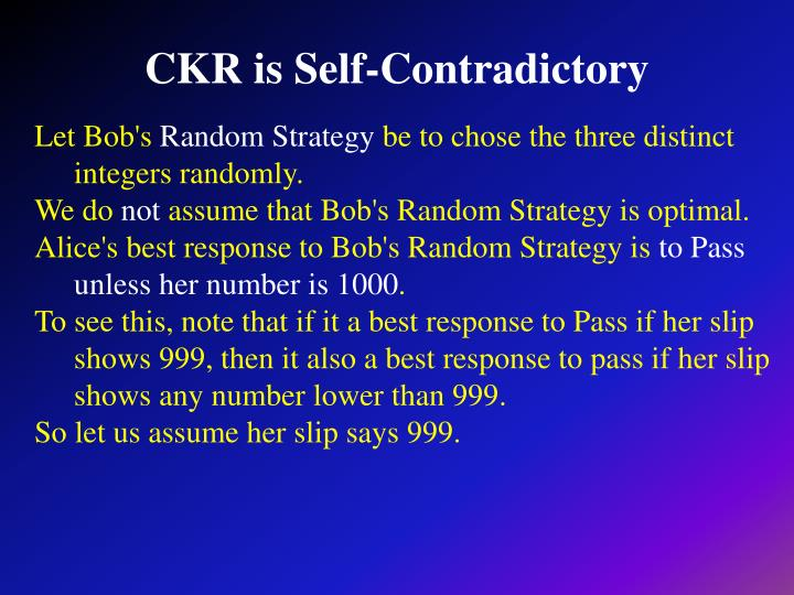 CKR is Self-Contradictory