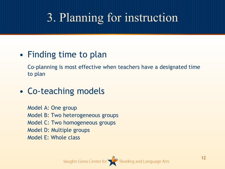 3. Planning for instruction
