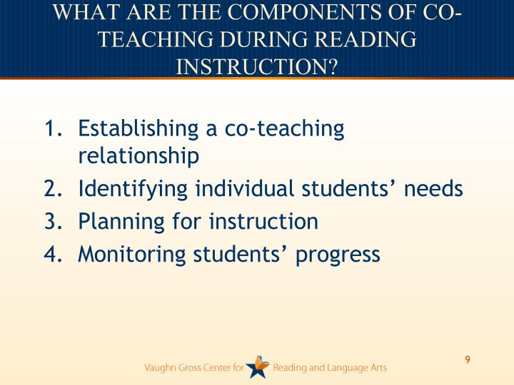WHAT ARE THE COMPONENTS OF CO-TEACHING DURING READING INSTRUCTION?