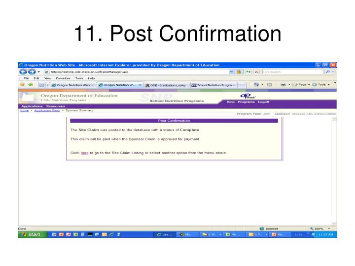 11. Post Confirmation