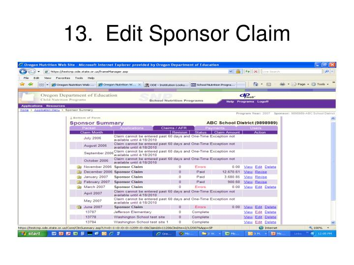 13.  Edit Sponsor Claim