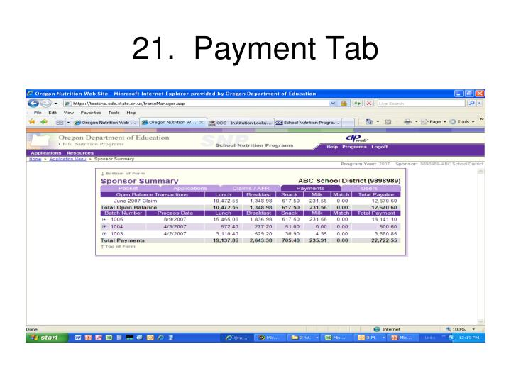 21.  Payment Tab
