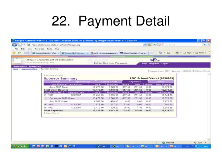 22.  Payment Detail