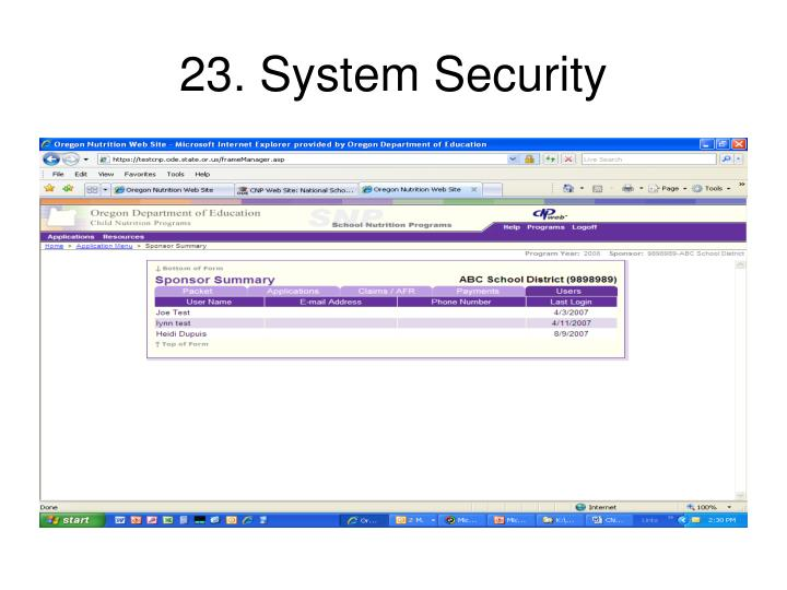23. System Security