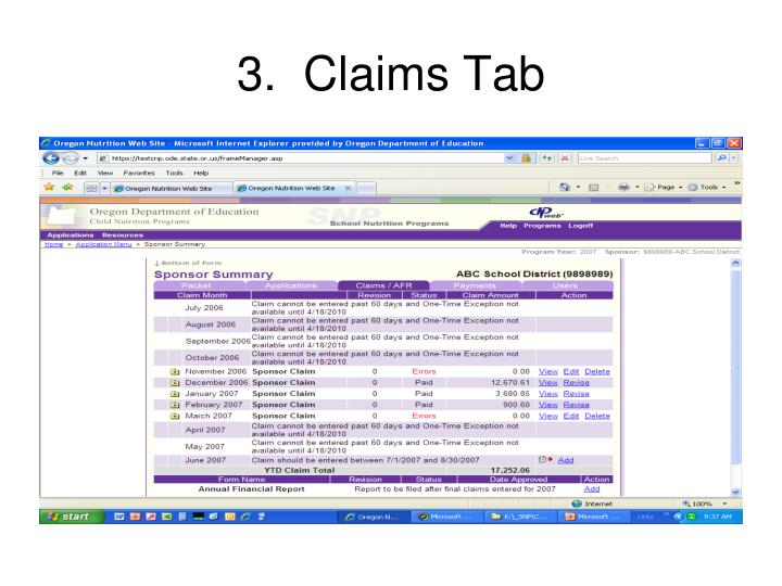 3.  Claims Tab