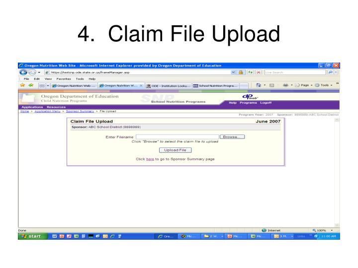 4.  Claim File Upload