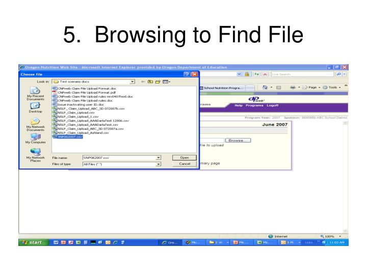 5.  Browsing to Find File