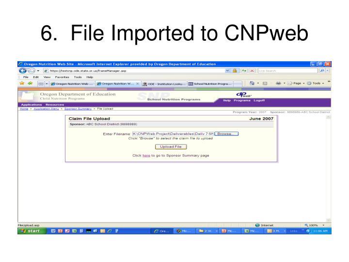 6.  File Imported to CNPweb