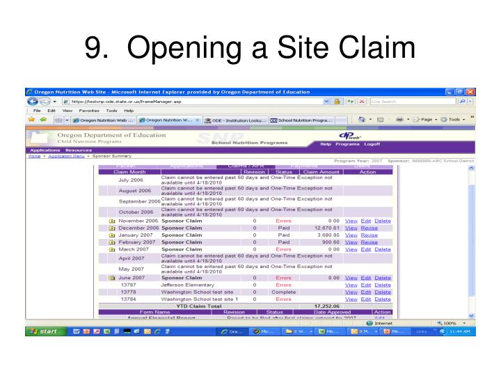 9.  Opening a Site Claim