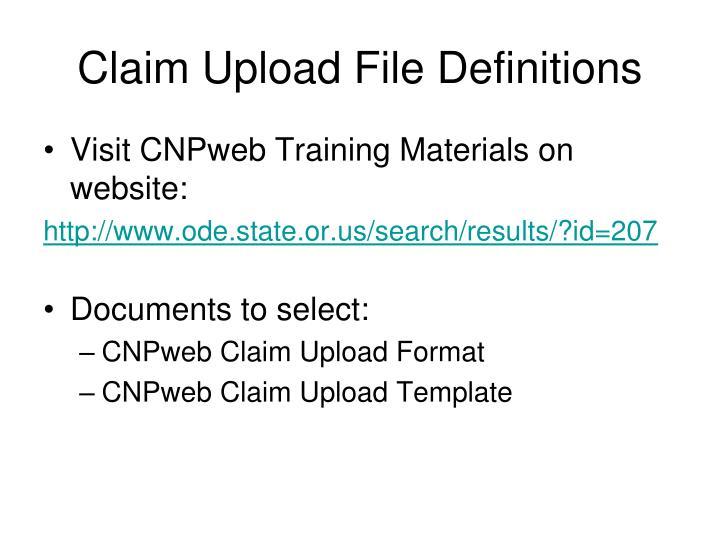 Claim Upload File Definitions