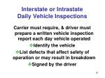 interstate or intrastate daily vehicle inspections