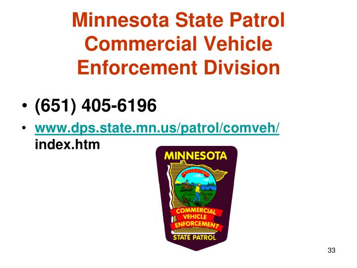 Minnesota State Patrol  Commercial Vehicle Enforcement