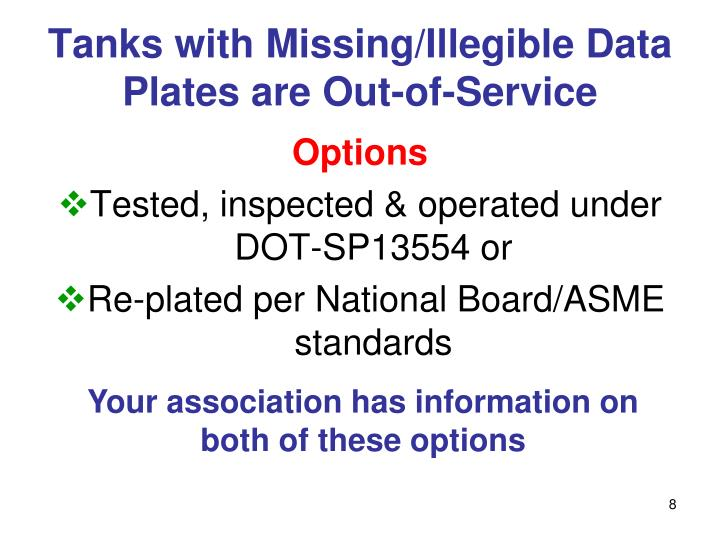 Tanks with Missing/Illegible Data Plates are Out-of-Service