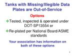 tanks with missing illegible data plates are out of service