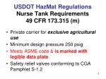 usdot hazmat regulations nurse tank requirements 49 cfr 173 315 m
