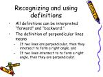 recognizing and using definitions