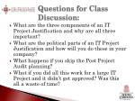 questions for class discussion