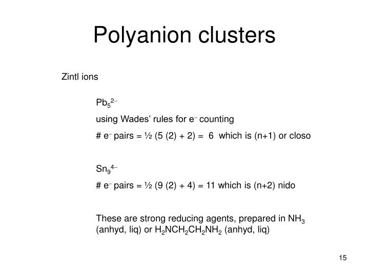Polyanion clusters
