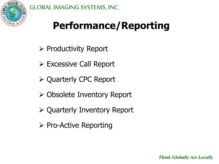 Performance/Reporting