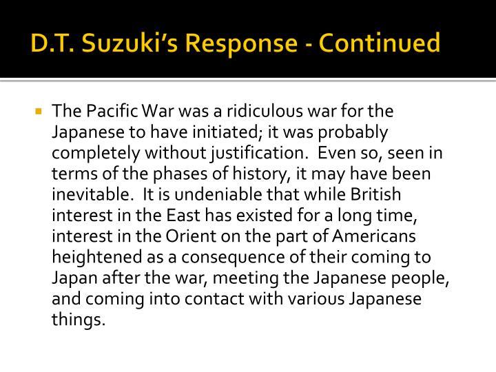 D.T. Suzuki's Response - Continued