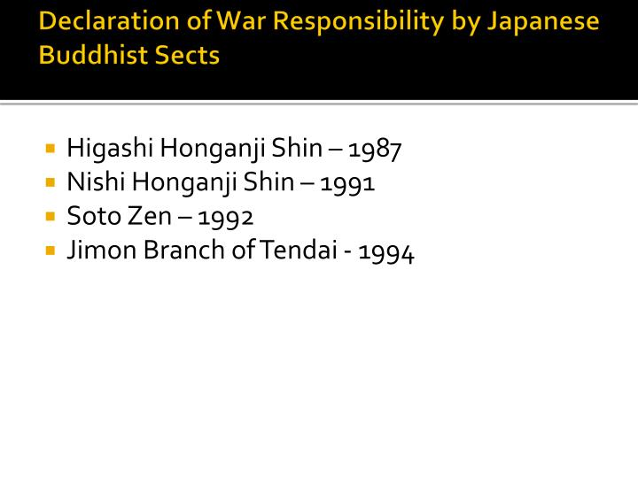 Declaration of War Responsibility by Japanese Buddhist Sects