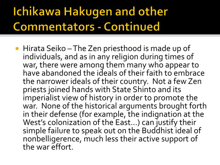 Ichikawa Hakugen and other Commentators - Continued