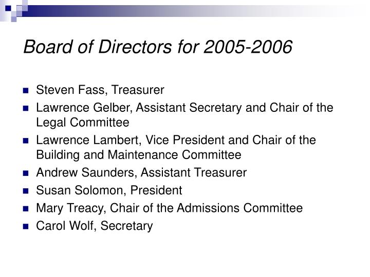 Board of Directors for 2005-2006