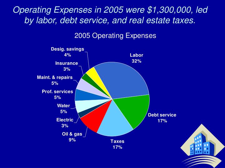 Operating Expenses in 2005 were $1,300,000, led by labor, debt service, and real estate taxes.