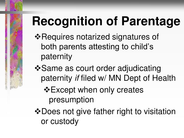 Recognition of Parentage