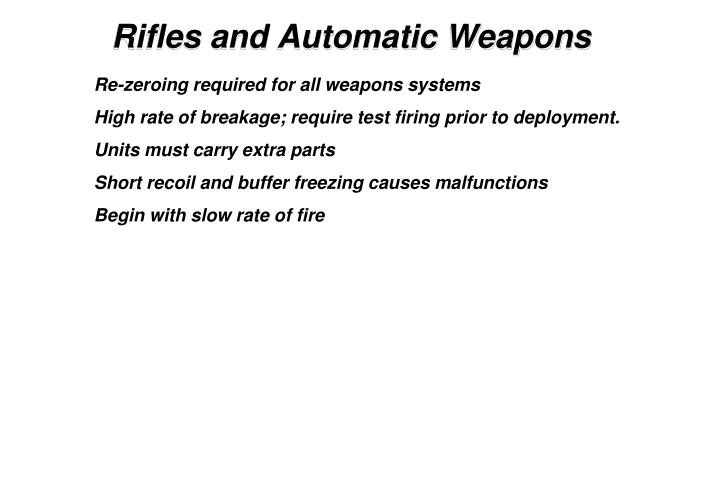 Rifles and Automatic Weapons