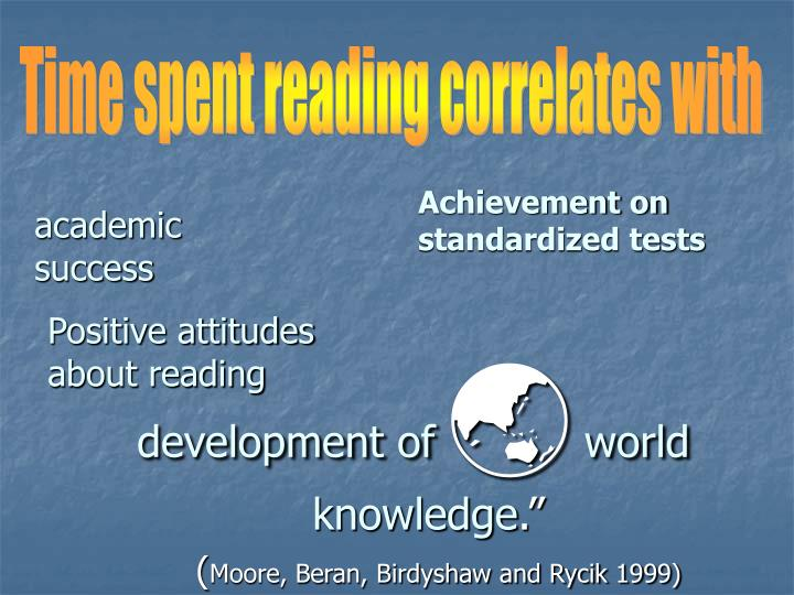 Time spent reading correlates with