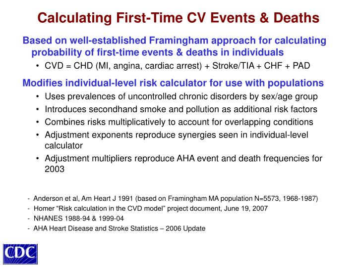 Based on well-established Framingham approach for calculating probability of first-time events & deaths in individuals