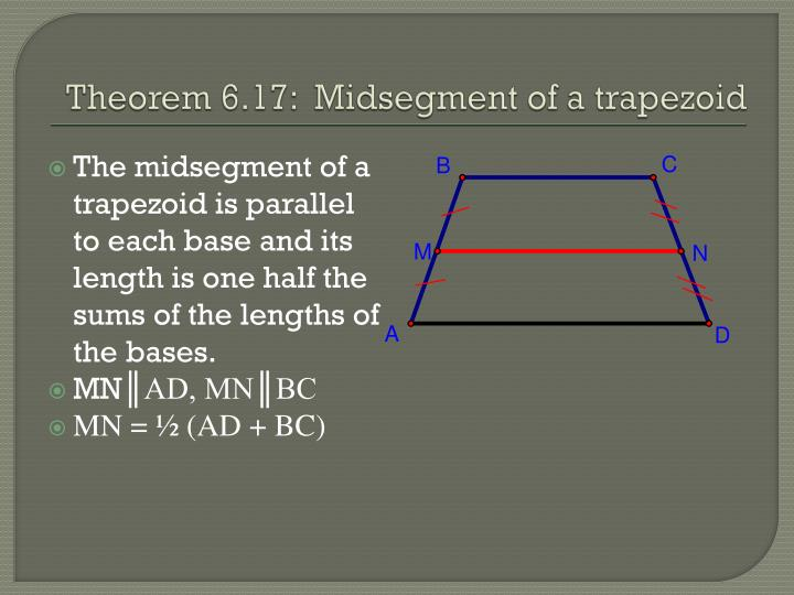 The midsegment of a trapezoid is parallel to each base and its length is one half the sums of the lengths of the bases.