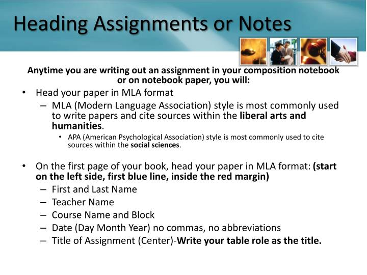Heading Assignments or Notes