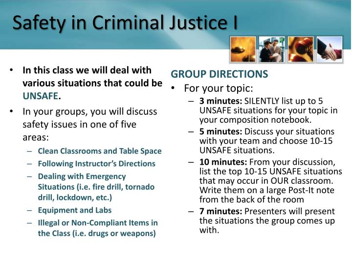 Safety in Criminal Justice I