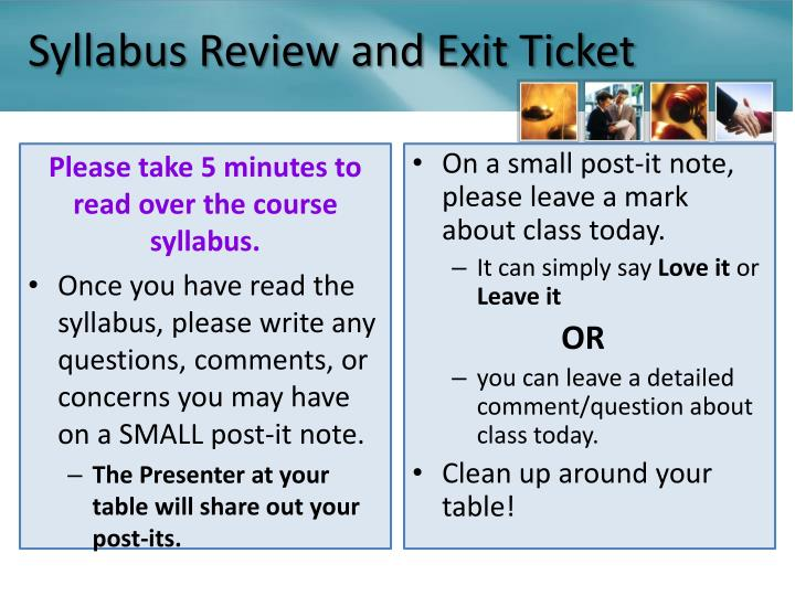 Syllabus Review and Exit Ticket