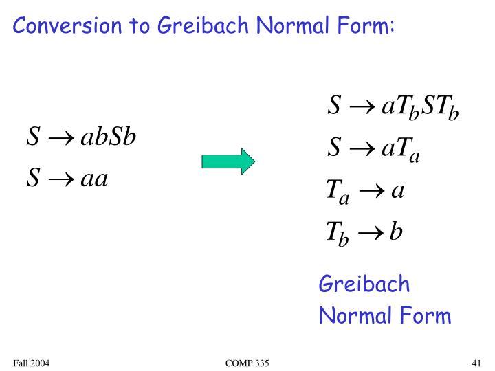 Conversion to Greibach Normal Form: