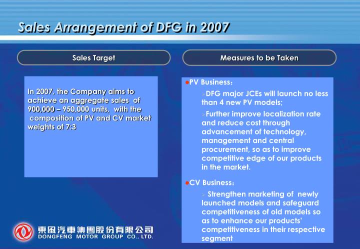 Sales Arrangement of DFG in 2007