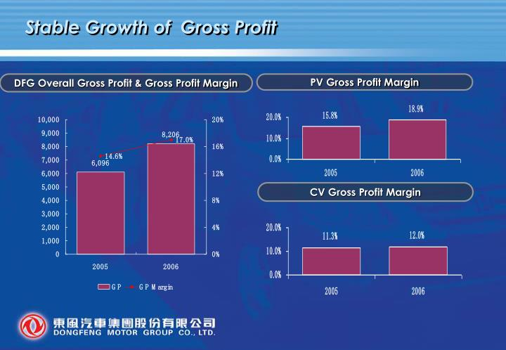 Stable Growth of  Gross Profit