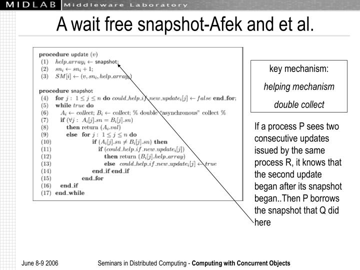 A wait free snapshot-Afek and et al.