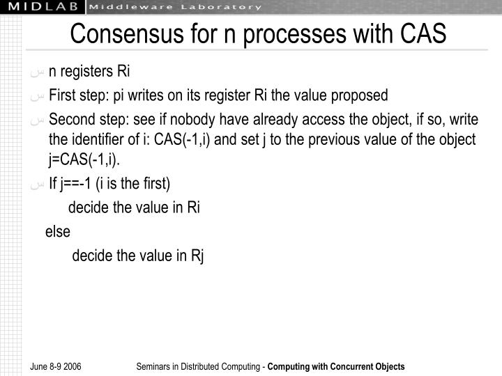 Consensus for n processes with CAS