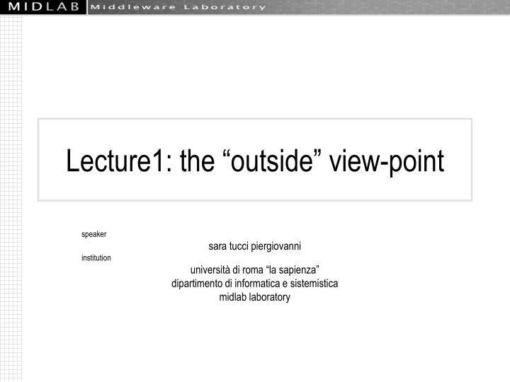 Lecture1 the outside view point