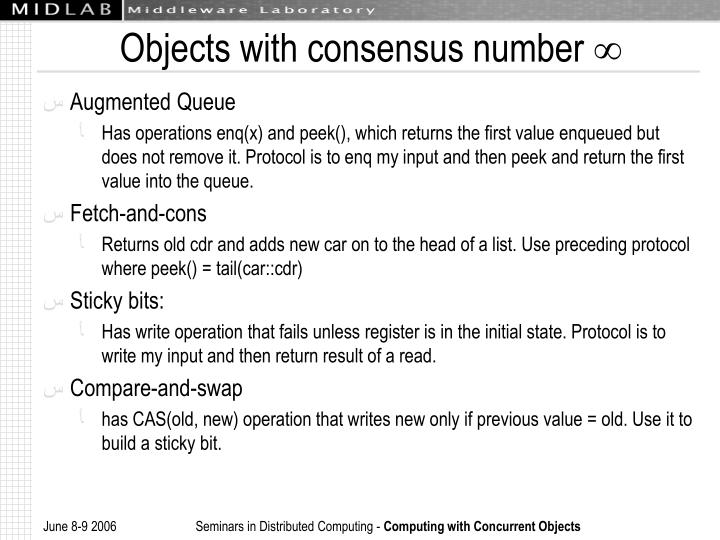 Objects with consensus number