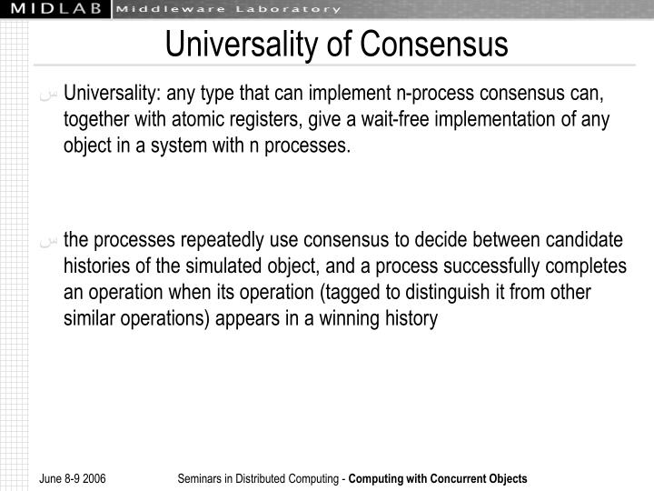 Universality of Consensus
