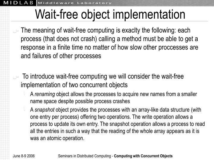 Wait-free object implementation
